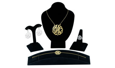 4 Pcs Monogram sample kit that displays our signature style in the Ring, Pendant, Earring and Bracel